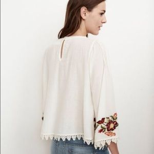 NWT Anthropologie Velvet Embroidered Peasant Top